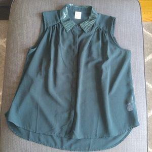Hunter Green Sheer Sleeveless Blouse Vero Moda